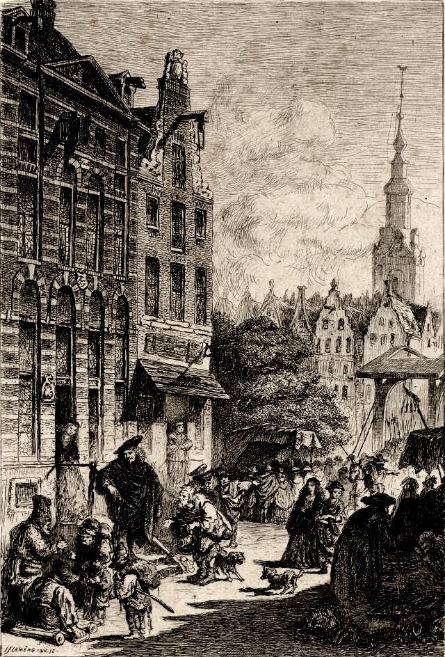 Rembrandt représenté au pied de sa maison cherchant l'inspiration pour les représentations bibliques dans les traits des Juifs vivant son quartier à Amsterdam.