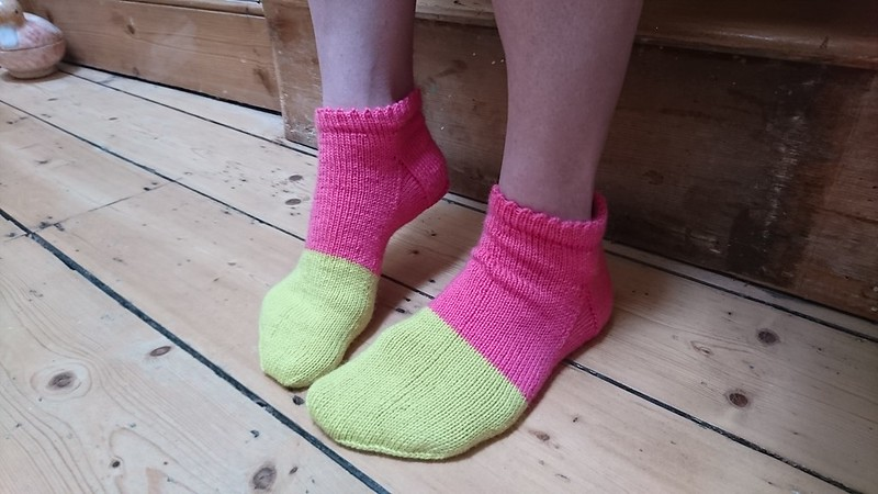 Bright handknit colour blocked socks