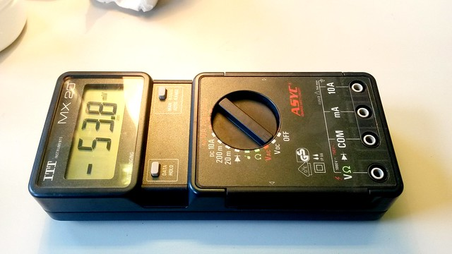 The multimeter, now in working order.