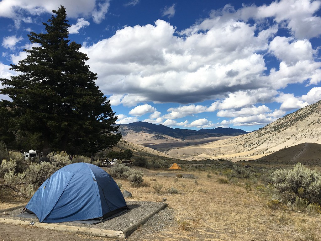 My tent in the Mammoth Campground at Yellowstone NP