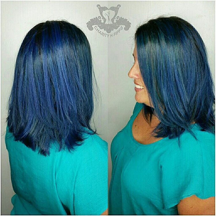 Rich Sapphire Blue Tones Long Swing Bob Haircut Joicoc Flickr