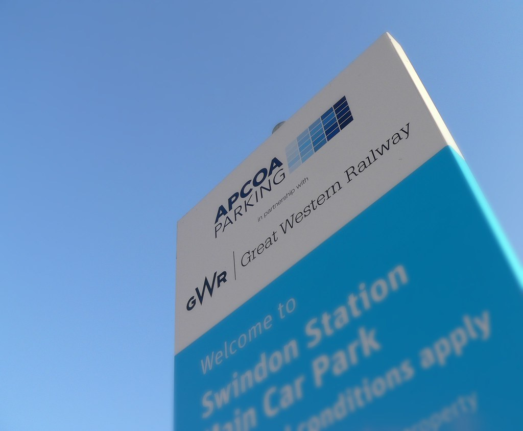 gwr apcoa car park welcome sign seen at swindon. Black Bedroom Furniture Sets. Home Design Ideas