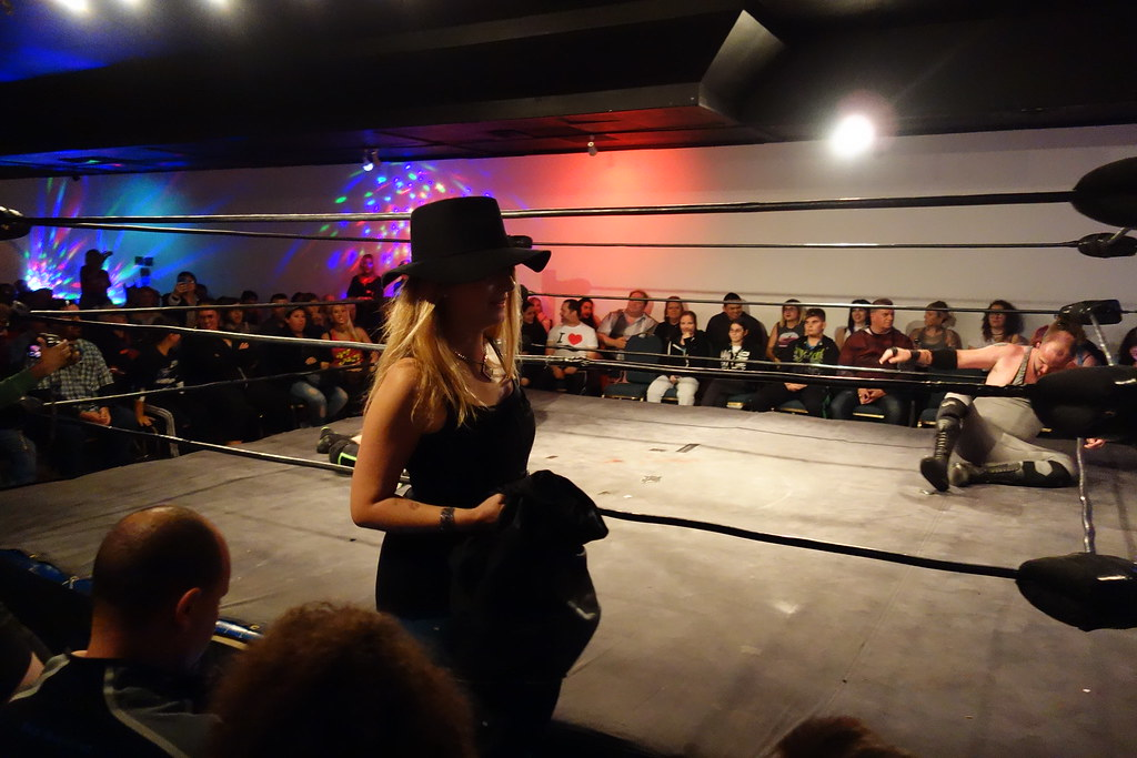 Raym the Minxi with wrestler's costume at Hogtown Wrestling event in Toronto