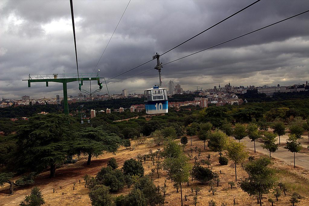 Madrid, desde el teleférico, un día nublado
