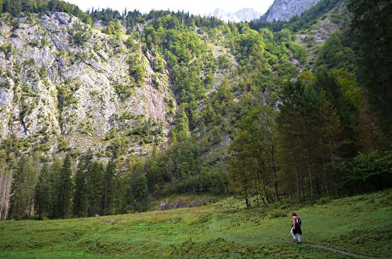 Walking to Germany's highest waterfall, Obersee, Konigsee, Bavaria