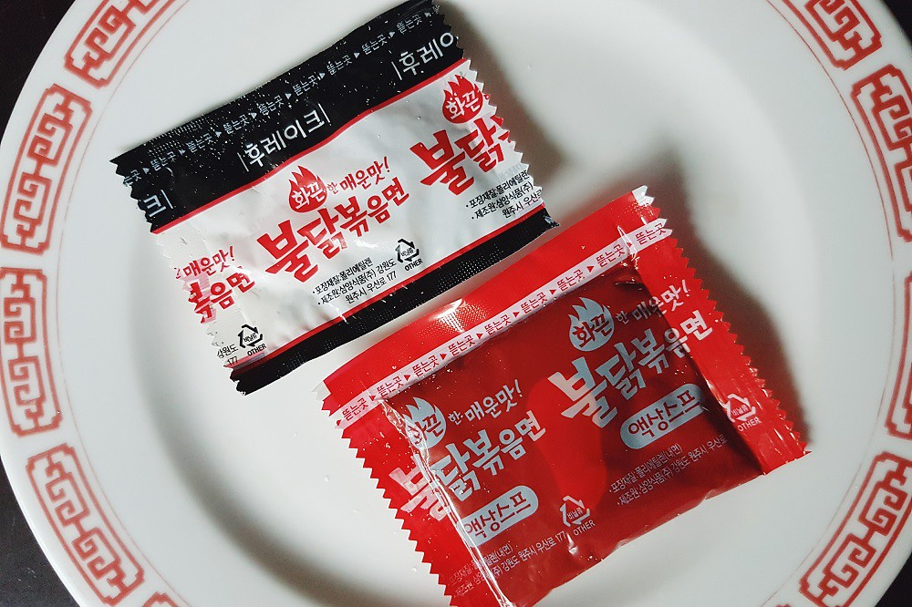 seasoning packets of buldak bokkeum myun