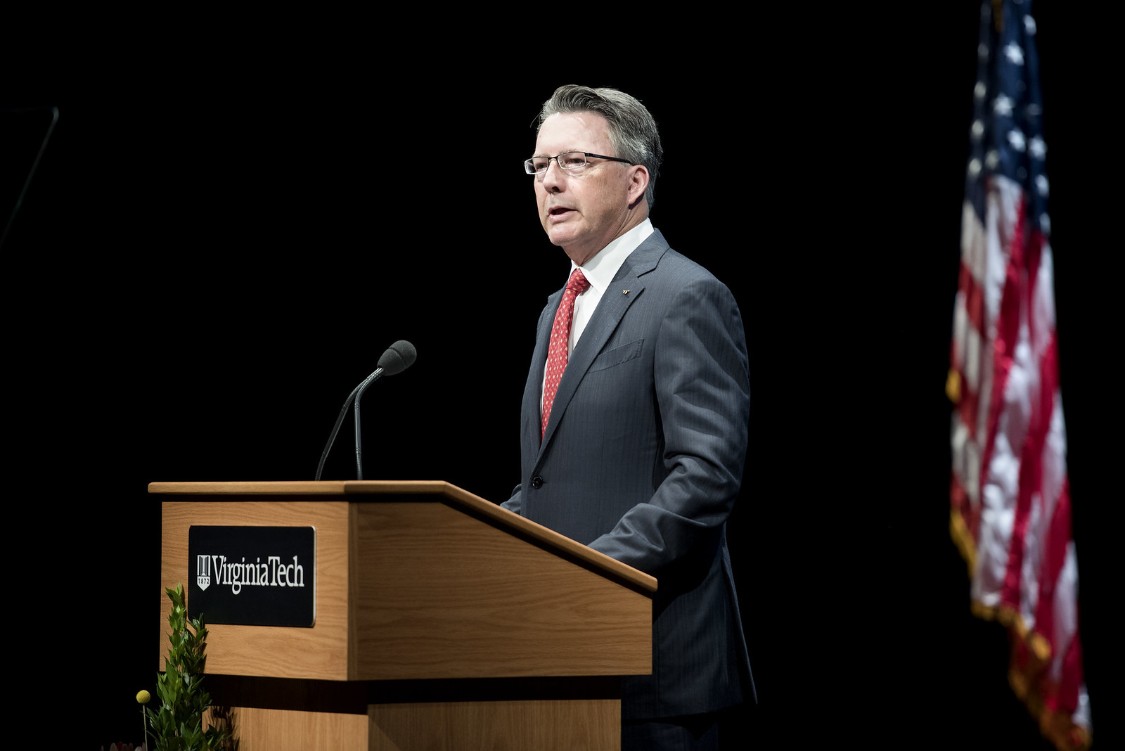 President Timothy Sands delivers the inaugural State of the University Address on Sept. 30, 2016. Photo courtesy of Virginia Tech.