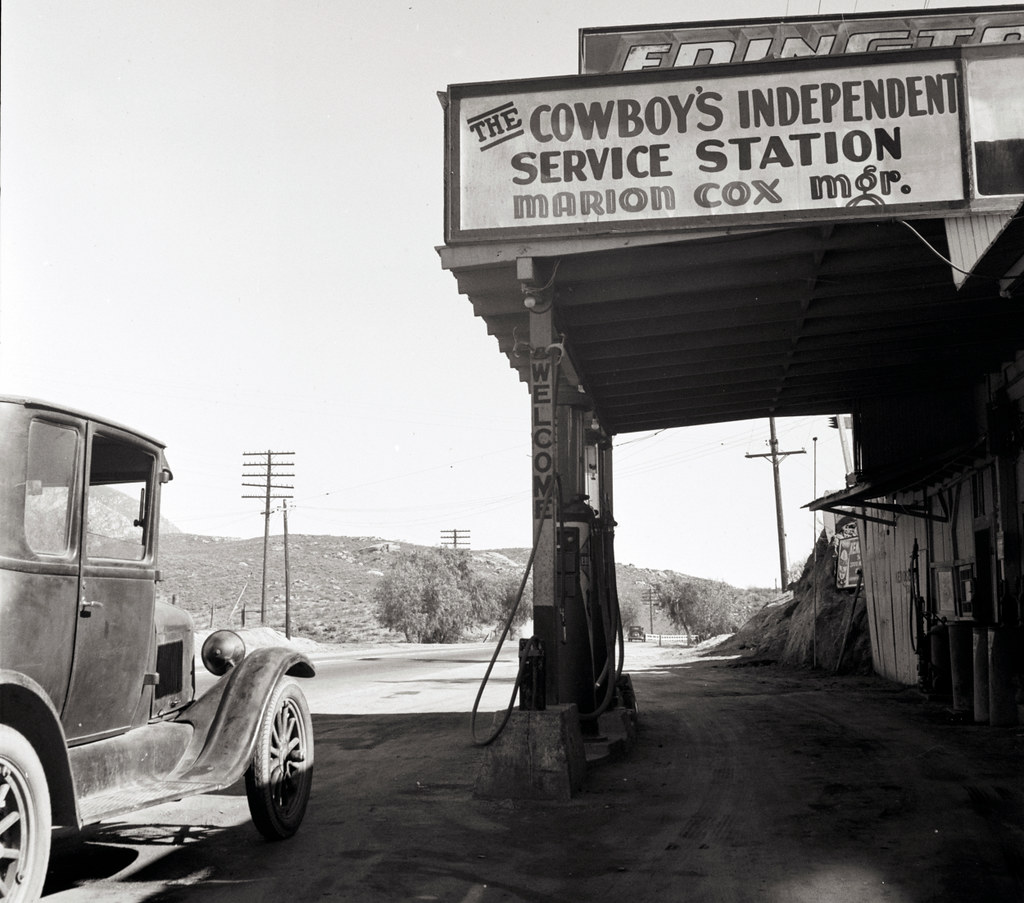 The Cowboy's Independent Service Station – on  the highway. Riverside County, California.