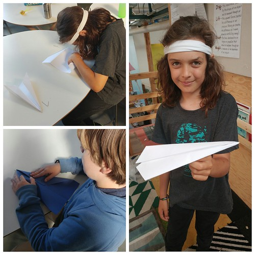 Working with paper airplanes allowed us to look at the forces of flight, along with controlled experiments and graphing.
