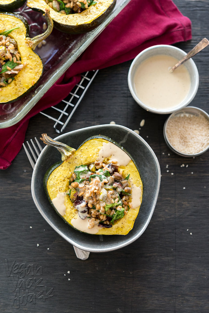 Farro-Stuffed Acorn Squash with Maple Tahini Dressing - delicious, healthy, and easy-to-make! #vegan #soyfree @VeganYackAttack