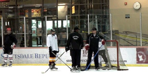 Brad Perry Coaching with Nate Arthurs at the ice den during and advanced adult session | by Brad Perry