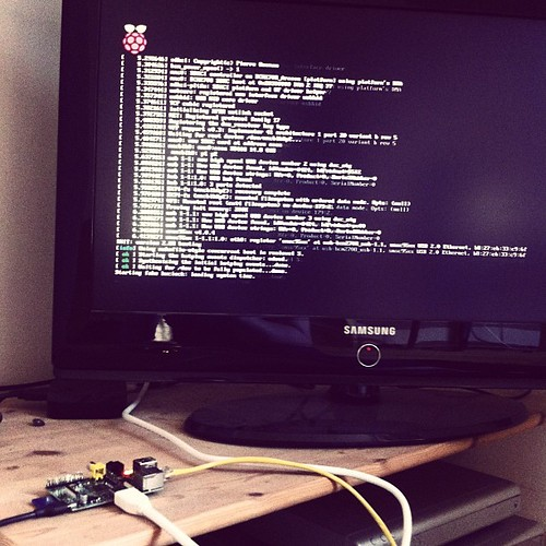 Raspberry Pi first boot. it really is strange and thrilling to see a commandline on a TV in this decade. | by Matt Biddulph