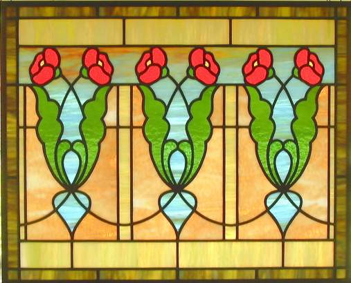 Arts and crafts poppy stained glass window i like this for Arts and crafts glass