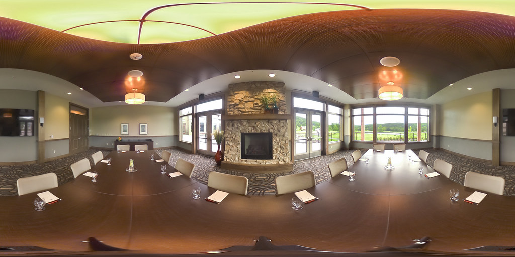 Image: 360-degree image of the Hearthstone Room in the Highland Lodge