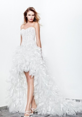 Diamond sweetheart tube top front short and back long ro for Short feather wedding dress