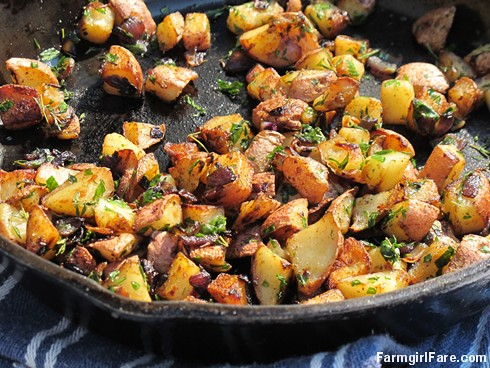 (18-14) Pan fried new potatoes with red onion and herbs from the kitchen garden | by Farmgirl Susan