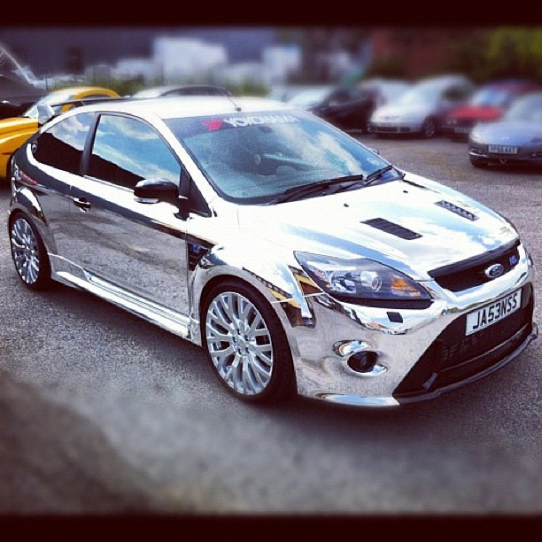 Ford Focus RS chrome wrap - on the fence we must admit ...