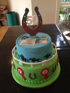 Horse racing cake horse racing themed cake for a 50th ...
