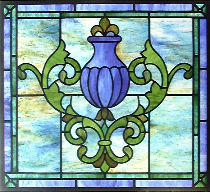 simple urn stained glass window a very pretty delicate ba flickr. Black Bedroom Furniture Sets. Home Design Ideas