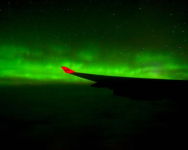 Auroras Boreales desde el avión volando de Estados Unidos a Europa