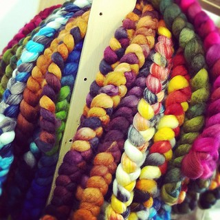 The girls were braiding fiber at the studio. Scrumptious!! #spinningfiber | by sweetgeorgia