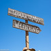 Sign to the wedding at Zaca Lake.