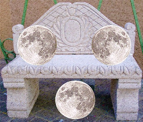 Bench With Identical Triplet Moons In Granite | by Chrisser