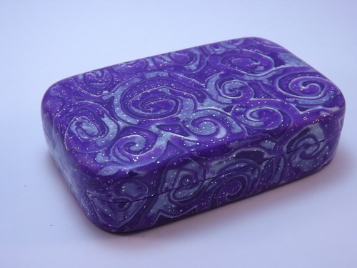 Purple with Silver leaf Mokume Gane Tin | by polymerclaycreations