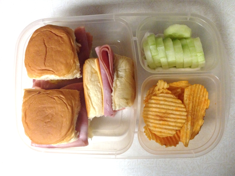 Mini sandwiches, cukes, & chips