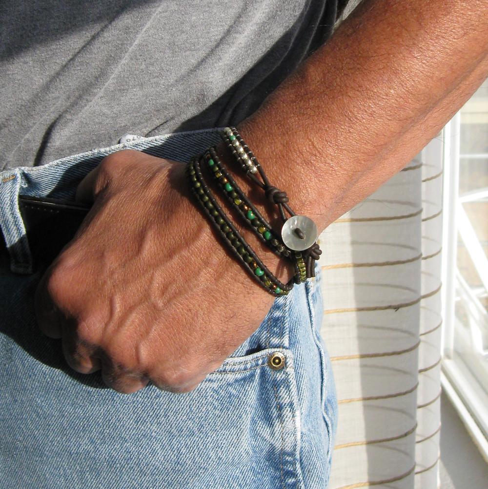 Beaded leather bracelet on men