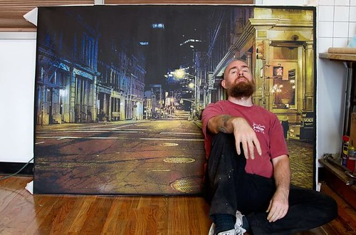 """it's never really quiet"" Painting in background. Showing in TheOutsiders show this Thursday. 6x4feet 