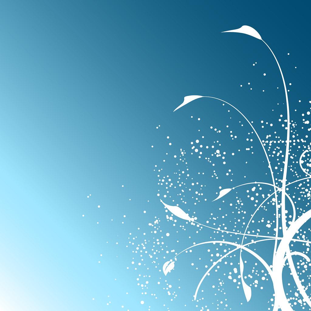 White floral design on blue background | White floral leaf ...