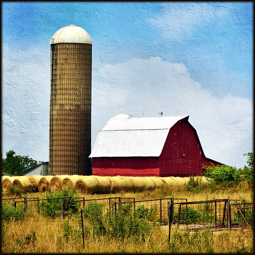 Red Barn With Silo Bales And Fences Northwest Iowa I