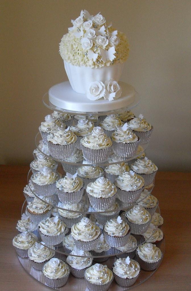 White And Silver Wedding Cupcake Tower Www Sugarruffles