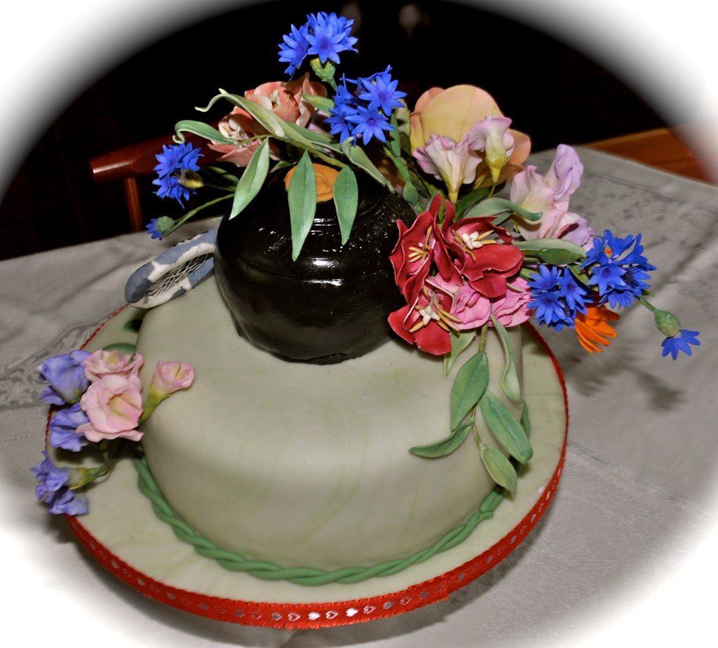 Garden flowers 70th birthday cake for my father with his f flickr garden flowers by cakes by sonja izmirmasajfo