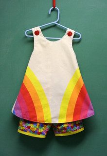 Retro Rainbow Pinafore and Love Message Shorts | by Mle BB