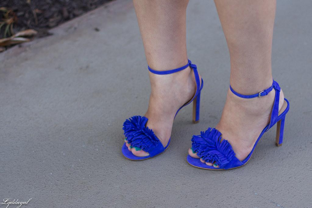 blue print cutout dress, fringe pumps, clare v clutch-9.jpg