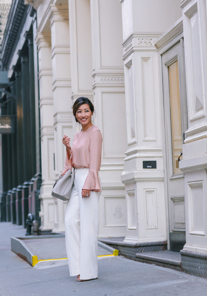 White wide leg pants fall office outfit_extra petite
