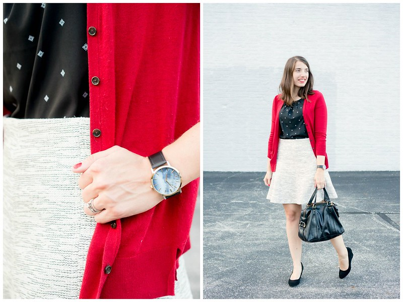 red cardigan + black and white patterned shell + Loft tweed skirt + black suede wedges | Style On Target blog