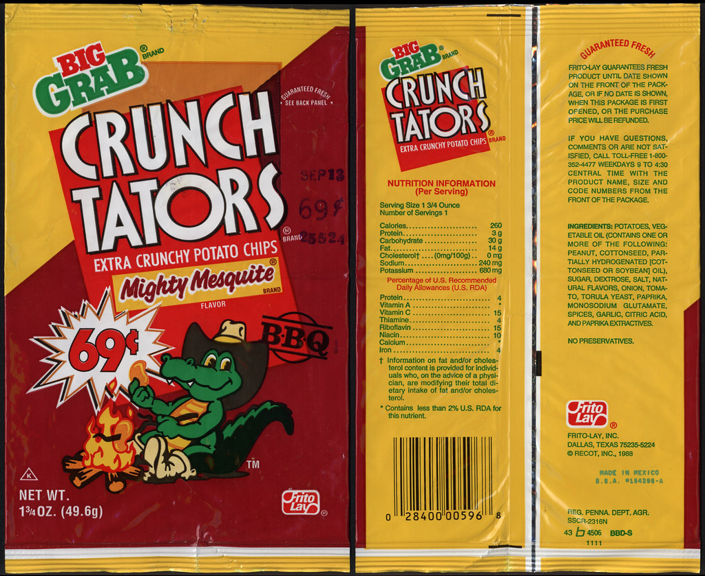 Frito Lay Crunch Tators Mighty Mesquite 69 Cent Big