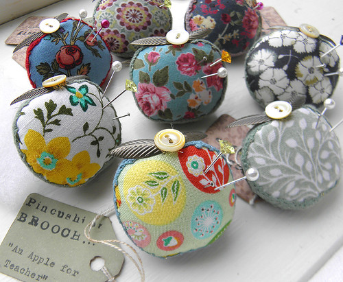 Apple for Teacher Pincushion Brooches | by Wychbury Designs