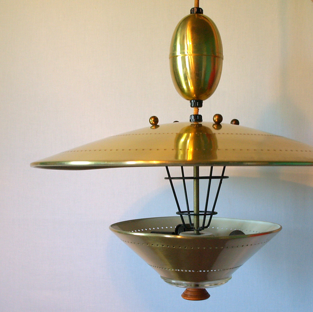 Ufo Pendant Lighting Vintage Atomic Flying Saucer Pull Dow