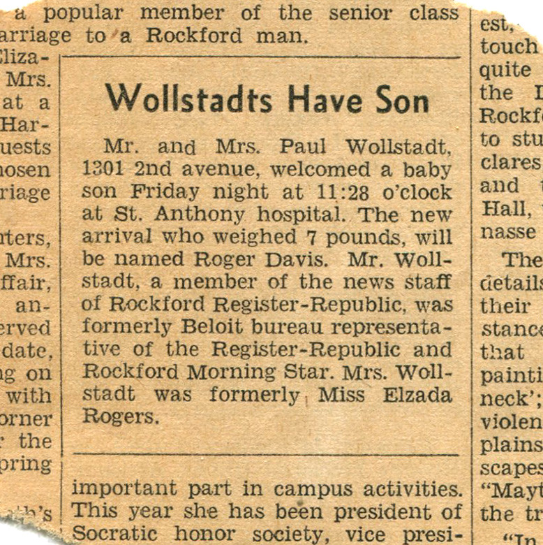 Rockford - My Birth Announcement in the Newspaper | A ...