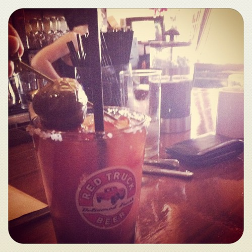 A pickled brussel sprout in my Bloody Mary. Pretty awesome actually. | by jamiey