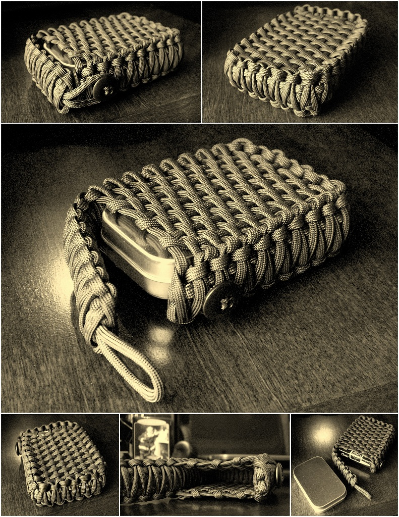 Tactical survival tin playing card paracord pouch i for How to make a paracord bag