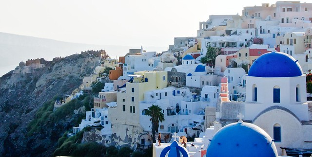 Classic Santorini shot with the blue domes