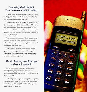 Telstra brochure explaining text messages: pages 2-3 | by Daniel Bowen