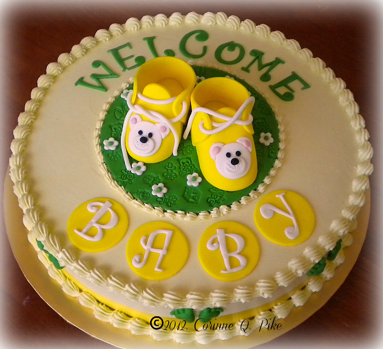 Green And Yellow Baby Shower Cake Red Velvet Cake With Swi Flickr