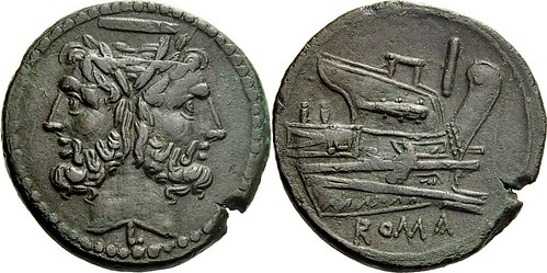 097/22a obv.mm. Luceria L As. Second phase. horizontal bar  Janus; I  Prow  L  ROMA. RR 17g52 | by Ahala