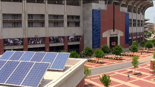 Solar panels on stadium garage | by Auburn University